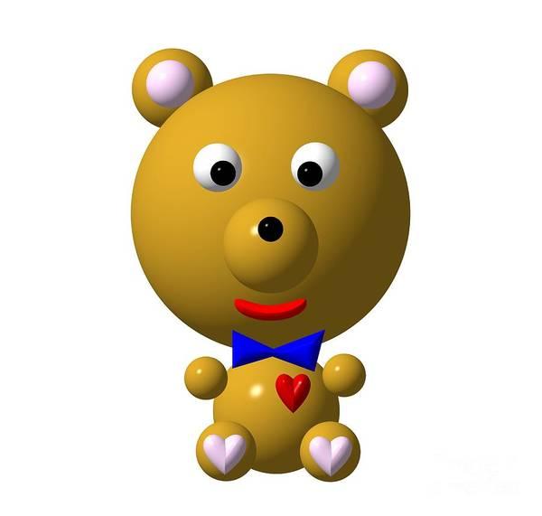 Digital Art - Cute Bear With Bow Tie by Rose Santuci-Sofranko