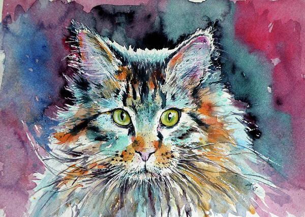 Wall Art - Painting - Cute Big Cat by Kovacs Anna Brigitta
