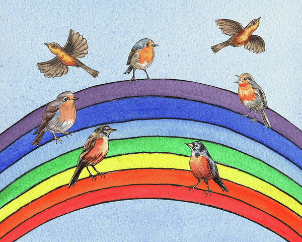 Carrot Painting - Cute Birds On The Rainbow by Irina Sztukowski