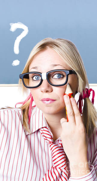 Controversy Photograph - Cute Blond Girl In Glasses Asking Big Question by Jorgo Photography - Wall Art Gallery