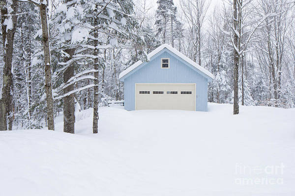 Wall Art - Photograph - Cute Blue And Ivory Garage In The Snow by Edward Fielding