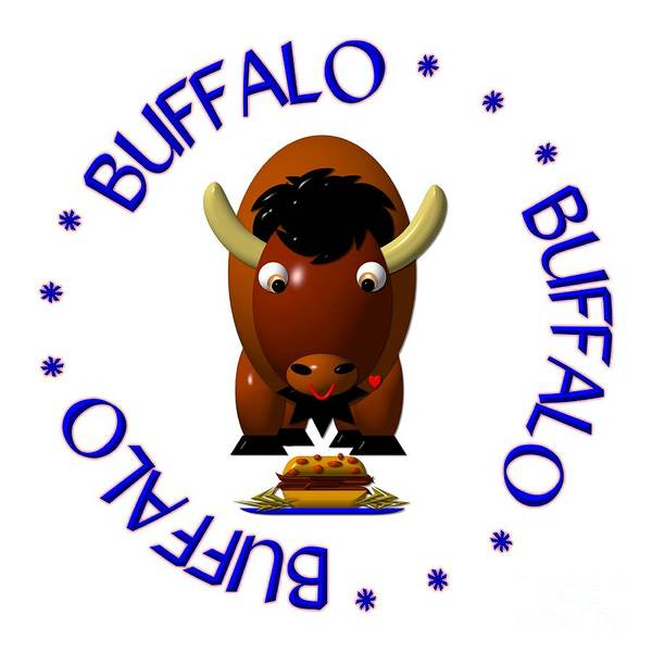 Digital Art - Cute Buffalo With Beef On Weck And Buffalo Wings by Rose Santuci-Sofranko
