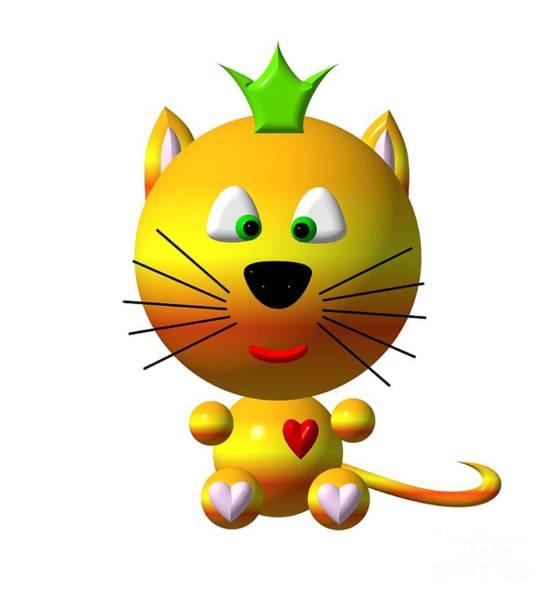Digital Art - Cute Cat With Crown by Rose Santuci-Sofranko