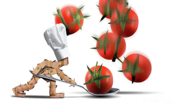 Wall Art - Digital Art - Cute Chef Box Character Catching Tomatoes by Simon Bratt Photography LRPS