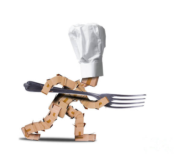 Fork Digital Art - Cute Chef Box Character With Big Fork by Simon Bratt Photography LRPS