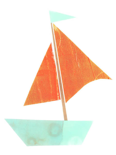 Wall Art - Mixed Media - Cute Collage Sailboat 508 by Carol Leigh