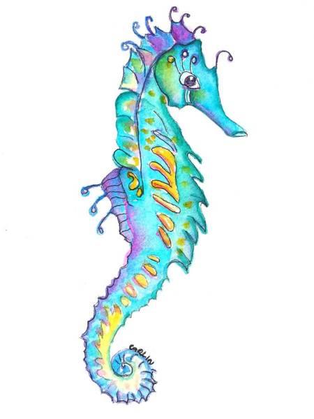 Painting - Cute Colorful Seahorse by Carlin Blahnik CarlinArtWatercolor