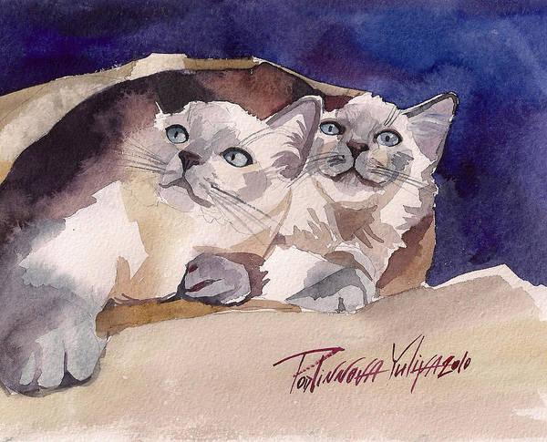 Wall Art - Painting - Cute Couple by Yuliya Podlinnova