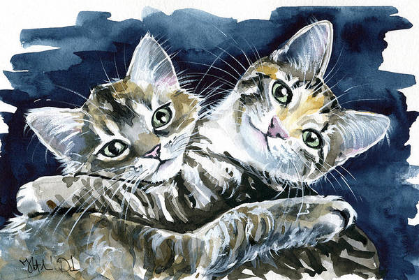 Painting - Cute Cuddling Kittens by Dora Hathazi Mendes