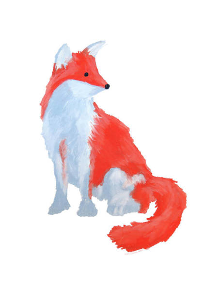 Drawing - Cute Fox With Fluffy Tail by Dominic White
