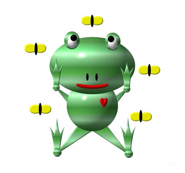 Digital Art - Cute Frog With Flies by Rose Santuci-Sofranko