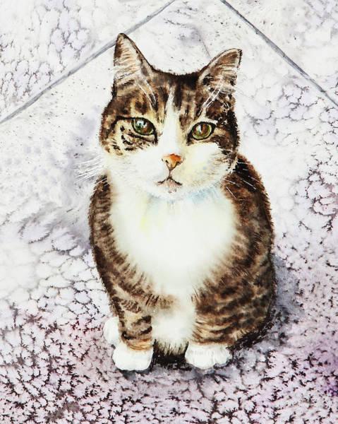 Painting - Cute Furry Friend Cat Painting by Irina Sztukowski