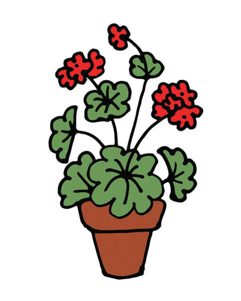 Red Geraniums Wall Art - Digital Art - Cute Geranium Plant by Irina Sztukowski
