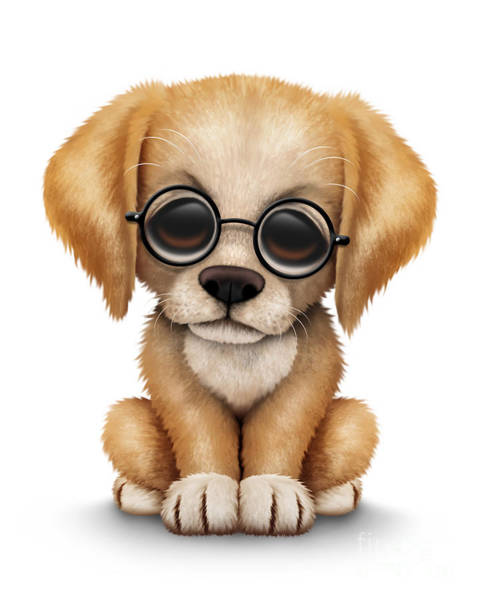 Golden Retriever Digital Art - Cute Golden Retriever Puppy Dog Wearing Eye Glasses by Jeff Bartels