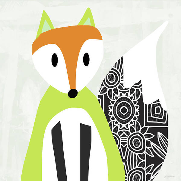 Woodland Animals Mixed Media - Cute Green And Black Fox- Art By Linda Woods by Linda Woods