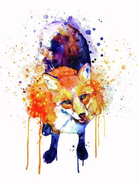 Looking Up Painting - Cute Happy Fox by Marian Voicu