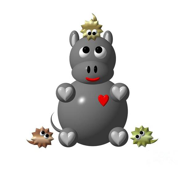 Digital Art - Cute Hippo With Hamsters by Rose Santuci-Sofranko