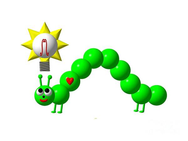 Digital Art - Cute Inchworm With An Idea by Rose Santuci-Sofranko