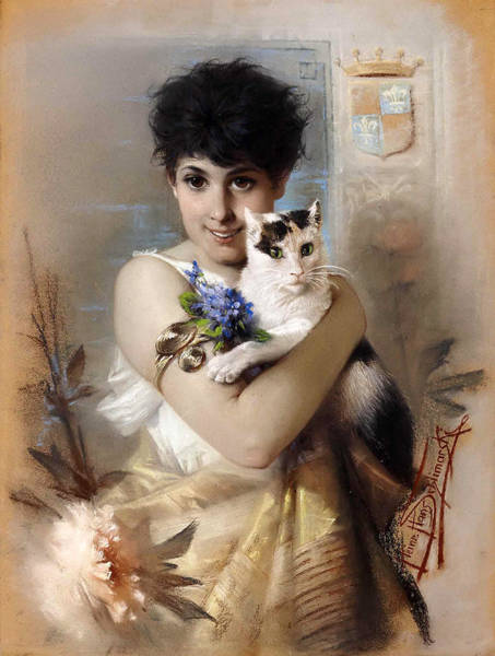Wall Art - Painting - Cute Kitten by Heinrich Hans Schlimarski