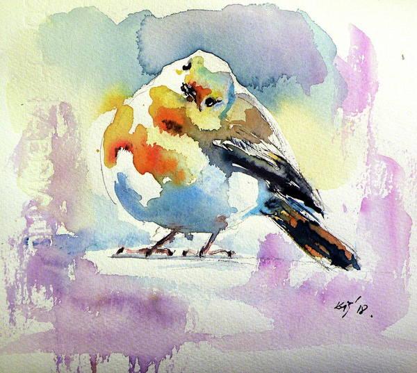 Wall Art - Painting - Cute Little Bird II by Kovacs Anna Brigitta