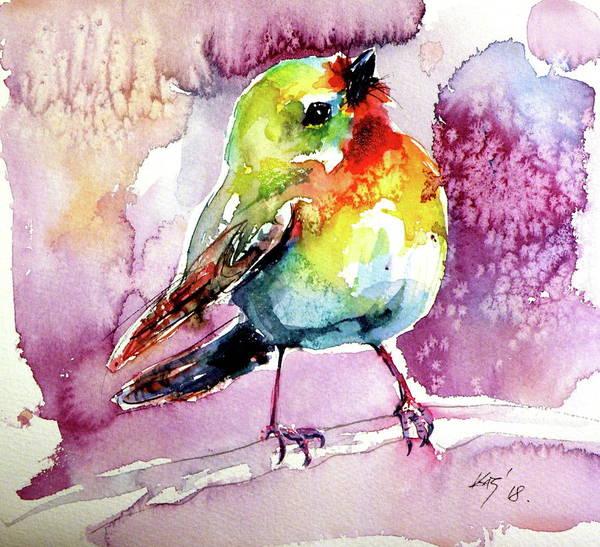 Wall Art - Painting - Cute Little Bird V by Kovacs Anna Brigitta