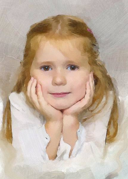Wall Art - Digital Art - Cute Little Girl  by Painterly Images