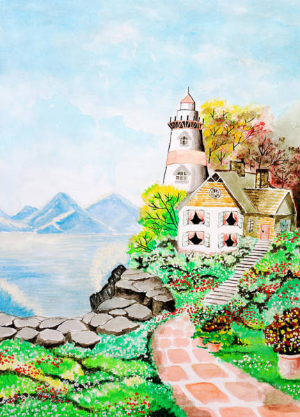 Painting - Cute Little House Next To The Sea. by Rasirote Buakeeree