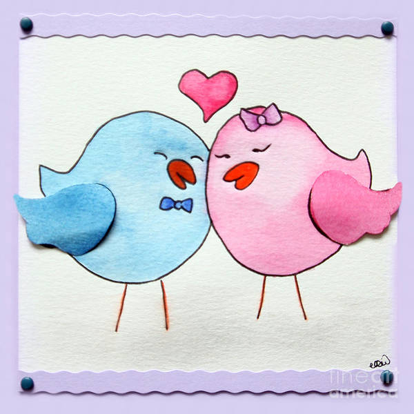 Lovebirds Painting - Cute Lovebirds Watercolour by Terri Waters
