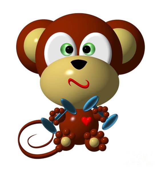 Digital Art - Cute Monkey Lifting Weights by Rose Santuci-Sofranko
