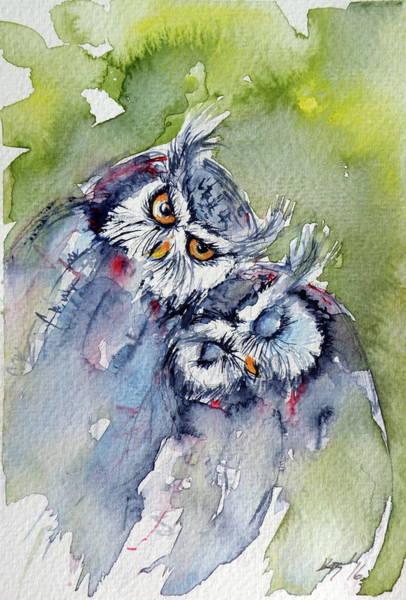 Owl Painting - Cute Owls by Kovacs Anna Brigitta