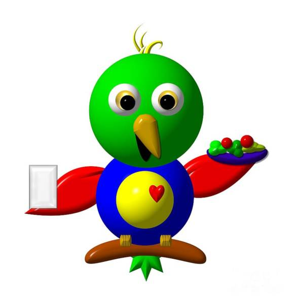 Digital Art - Cute Parrot With Healthy Salad And Milk by Rose Santuci-Sofranko