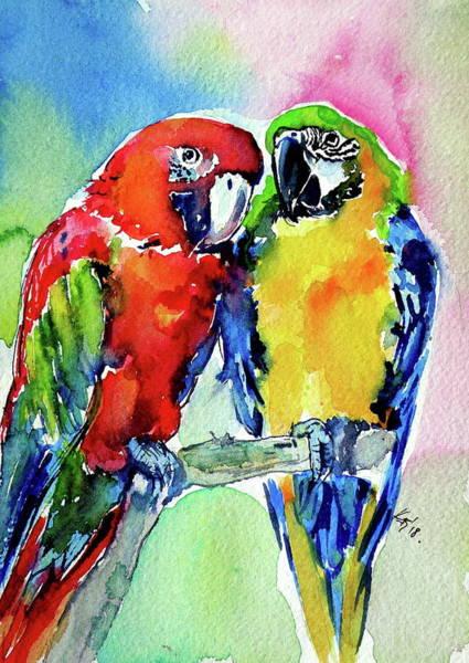 Wall Art - Painting - Cute Parrots In Love by Kovacs Anna Brigitta