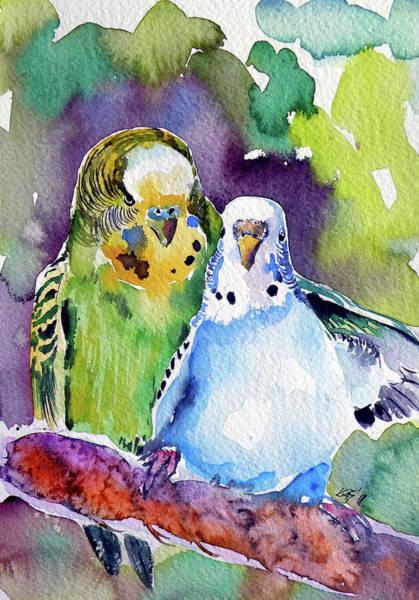 Wall Art - Painting - Cute Parrots by Kovacs Anna Brigitta