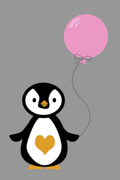 Playful Digital Art - Cute Penguin With Balloon by Mihaela Pater