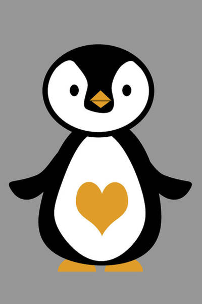 Front Room Digital Art - Cute Penguin With Heart by Mihaela Pater