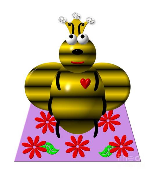 Digital Art - Cute Queen Bee On A Quilt by Rose Santuci-Sofranko