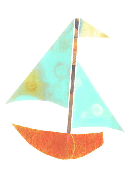 Wall Art - Mixed Media - Cute Sailboat Collage 507 by Carol Leigh