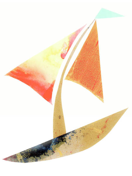 Wall Art - Mixed Media - Cute Sailboat Collage 517 by Carol Leigh