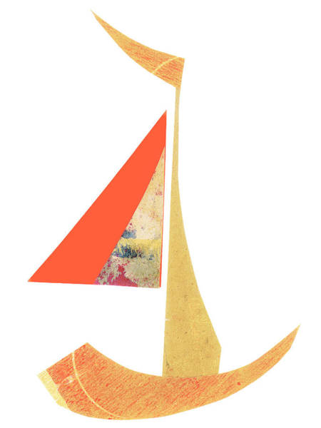 Wall Art - Mixed Media - Cute Sailboat Collage 518 by Carol Leigh