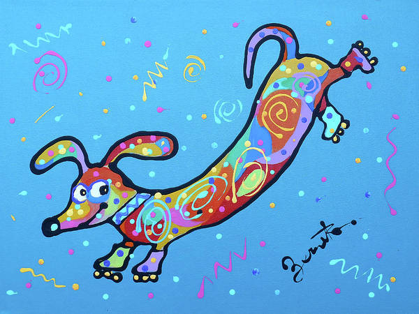 Wall Art - Painting - Cute Sausage Dog by Leon Zernitsky