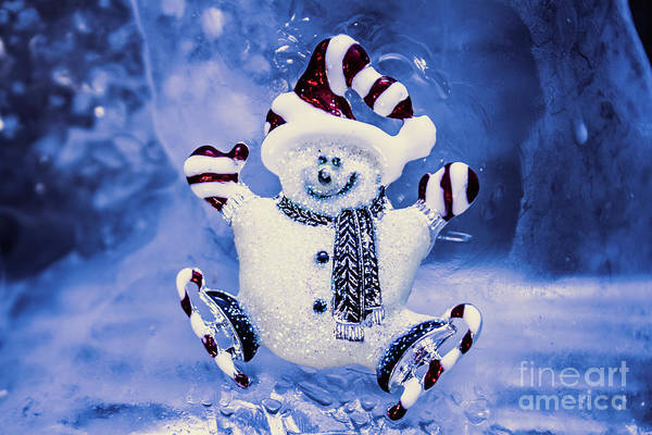Ice Wall Photograph - Cute Snowman In Ice Skates by Jorgo Photography - Wall Art Gallery