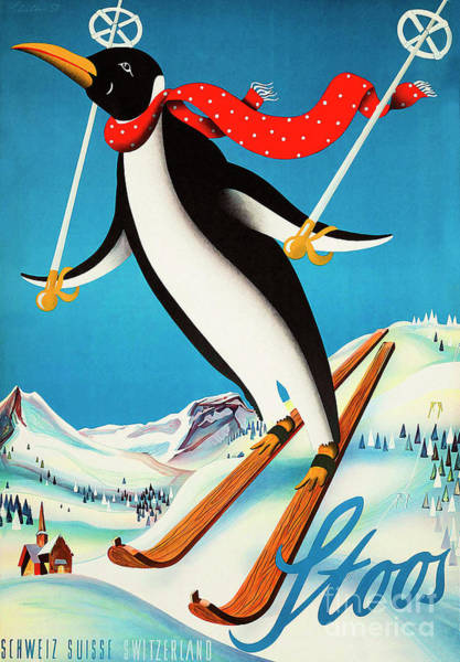 Wall Art - Painting - Cute Vintage Swiss Ski Travel Poster by Tina Lavoie
