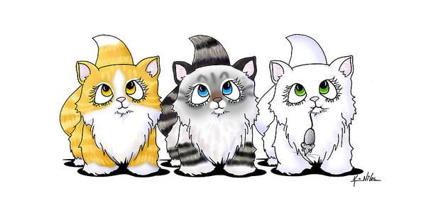 Kitten Drawing - Cutie Face Kitten Trio by Kim Niles