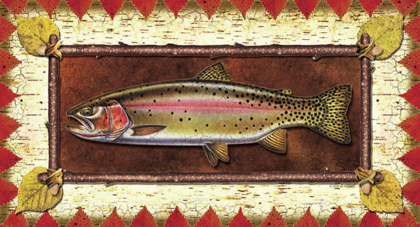 Fly Fishing Painting - Cutthroat Trout Lodge by JQ Licensing
