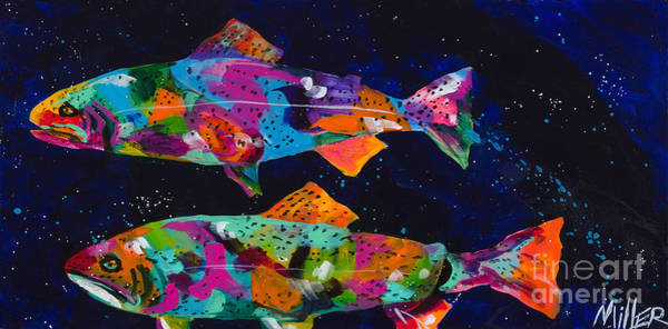 Colorado Wildlife Wall Art - Painting - Cutthroats by Tracy Miller