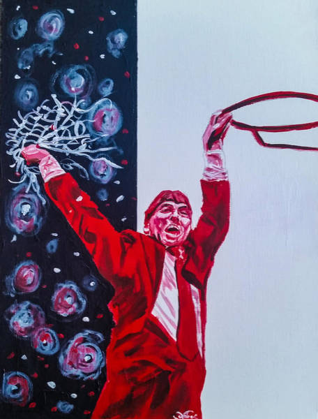 Nc State Wall Art - Painting - Cutting Down The Net - Jimmy V by Joel Tesch