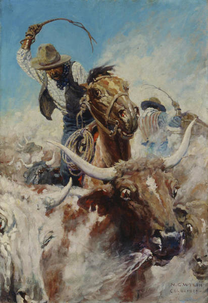 Longhorn Painting - Cutting Out-1 by Newell Convers Wyeth