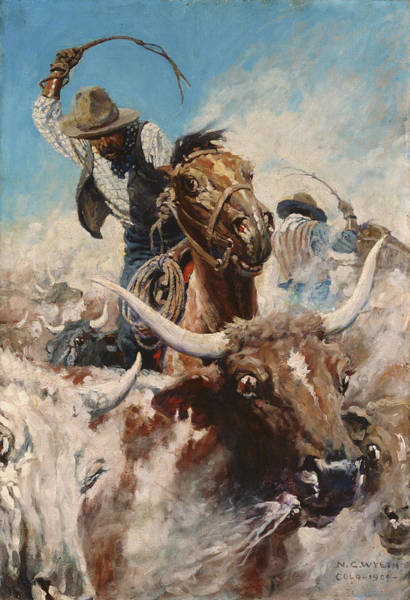 Longhorn Painting - Cutting Out by Newell Convers Wyeth
