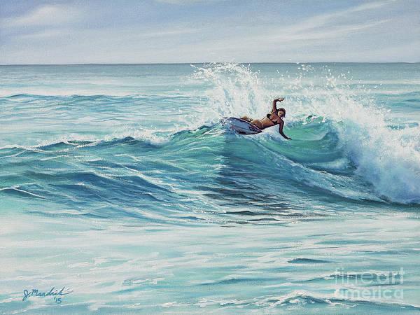Surfer Painting - Cutting Through The Peak by Joe Mandrick