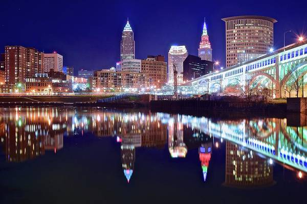 Wall Art - Photograph - Cuyahoga Night Lights by Frozen in Time Fine Art Photography